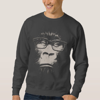 Hipster Gorilla With Glasses Pullover Sweatshirts
