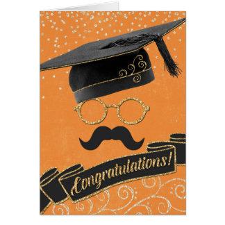 Hipster Graduation Congratulations Moustache Greeting Card