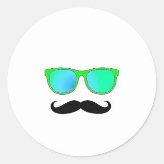 Hipster - Green Mirrored Shades Round Sticker