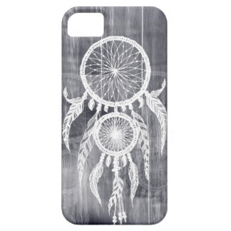 Hipster Happy Dreams Dream Catcher on Grey wood iPhone 5 Cases