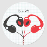 Hipster Headphones (Red / Black) Envelope Seal Round Sticker