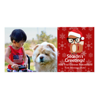 Hipster Holiday Fox Cute Animal Christmas Picture Card