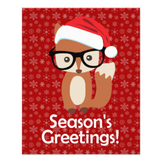 Hipster Holiday Fox Glasses Cute Animal Christmas Flyer Design