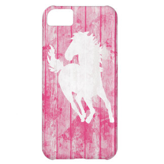 Hipster Horse & Rustic Pink Wood iPhone 5C Case