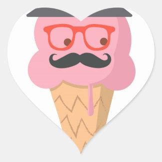 Hipster ice cream heart sticker