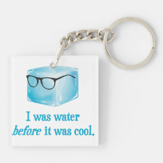 Hipster Ice Cube Was Water Before It Was Cool Double-Sided Square Acrylic Key Ring