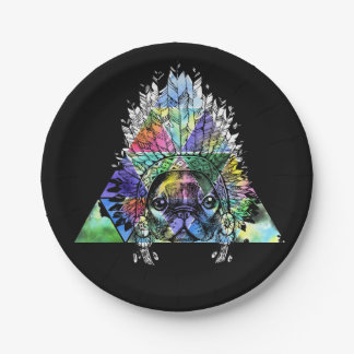 Hipster Indian Pug Dog 7 Inch Paper Plate