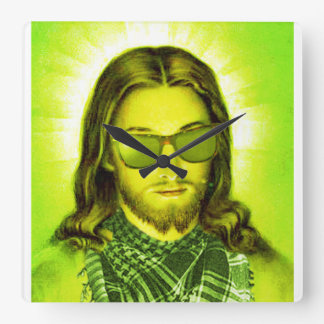 hipster jesus saves and loves square wall clock