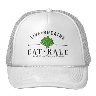 Hipster Kale Live Breathe Eat Kale Custom Cap