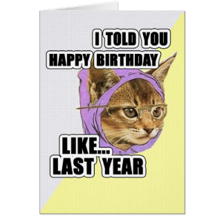 Hipster Kitty Deep Quote Happy Birthday Card