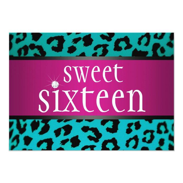 Hipster Leopard Sweet Sixteen 13 Cm X 18 Cm Invitation Card