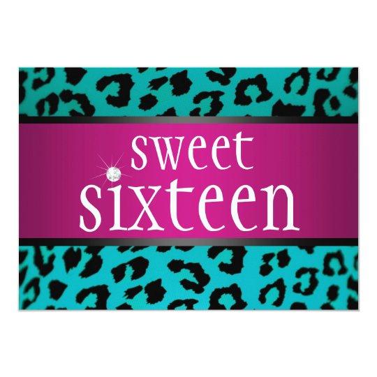 Hipster Leopard Sweet Sixteen Card