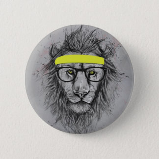 Hipster lion 6 cm round badge