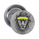 Hipster lion 6 cm round badge