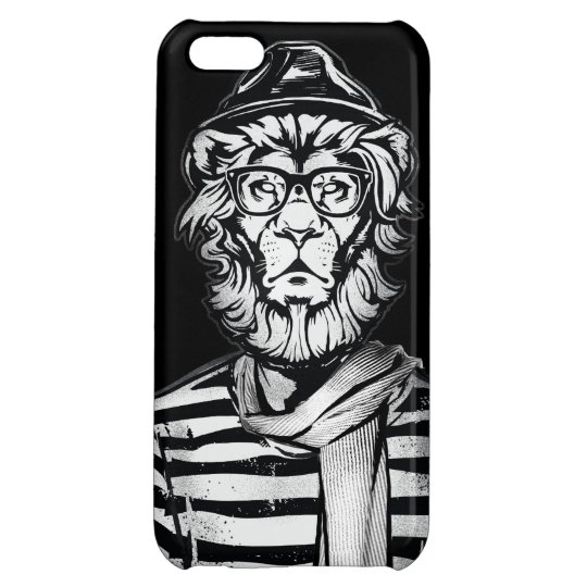 Hipster Lion Black and White Cover For iPhone