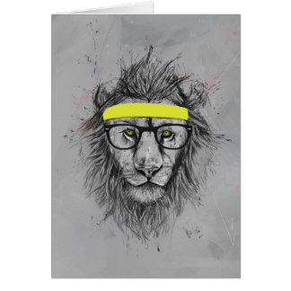 hipster lion card