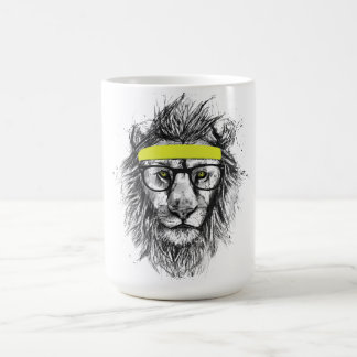 hipster lion coffee mug
