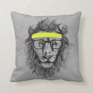 Hipster lion cushion