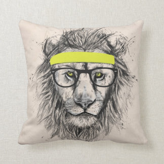 Hipster lion (light background) cushion