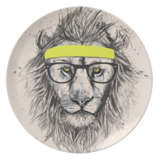 Hipster lion (light background) dinner plate