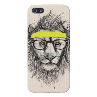 hipster lion (light background) iPhone 5 case