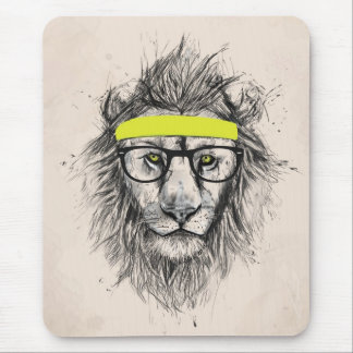 Hipster lion (light background) mouse mat