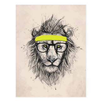 Hipster lion (light background) postcard