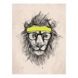 Hipster lion light background post card