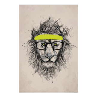 Hipster lion (light background) poster