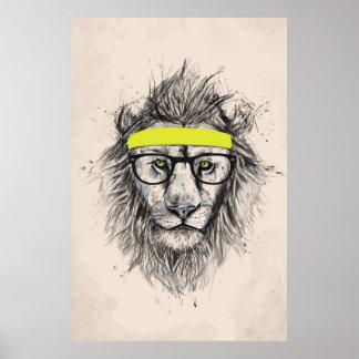 Hipster lion (light background) poster