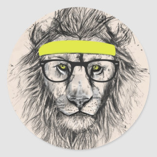 hipster lion (light background) round sticker