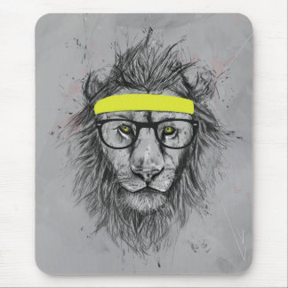 Hipster lion mouse mat