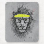 Hipster lion mouse mats