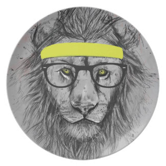 Hipster lion plate