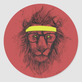 hipster lion (red) classic round sticker
