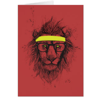 hipster lion (red) greeting card
