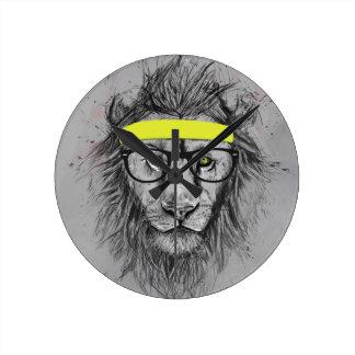 Hipster lion round clock
