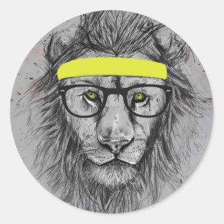 hipster lion round sticker