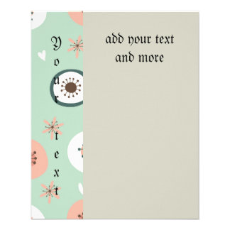 """Hipster,mint,coral,white,floral,retro,70's,trendy, 4.5"""" X 5.6"""" Flyer"""