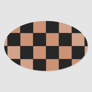 Hipster Modern Checkerboard Oval Stickers