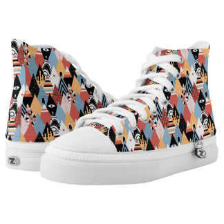 Hipster modern mystic triangle geometric pattern printed shoes