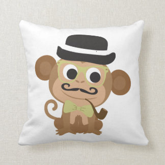 Hipster Monkey Throw Pillow