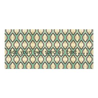 Hipster,moroccan,quatrefoil,vintage,pattern,teal,b Personalized Rack Card