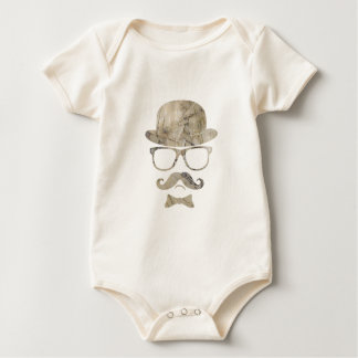 hipster moustache derby glasses 3 baby bodysuit