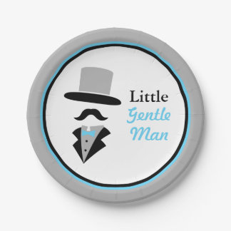 Hipster Moustache Gentleman Baby Boy Shower Paper Plate