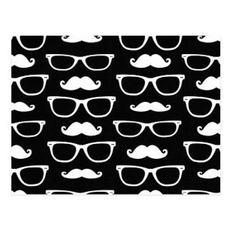 Hipster Mustache and Glasses Dot Pattern Black Postcard