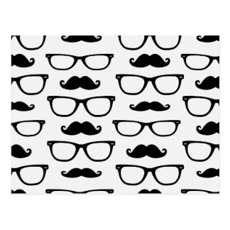 Hipster Mustache and Glasses Dot Pattern White Postcard