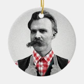 Hipster Nietzsche Christmas Ornament
