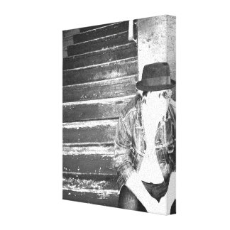 Hipster on the Stairs Gallery Wrap Canvas