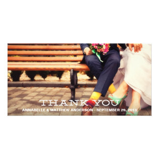 HIPSTER OVERLAY WEDDING THANK YOU PHOTO CARD